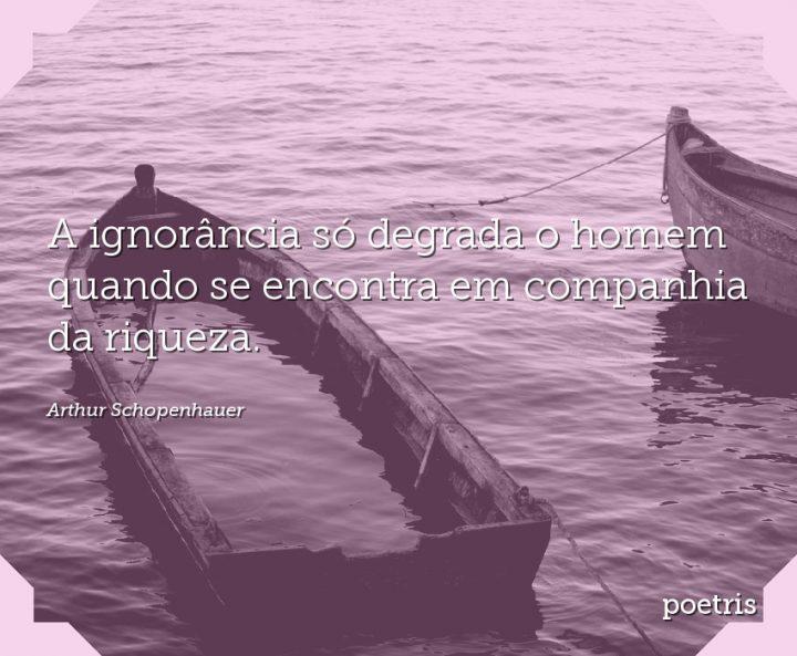 A ignorância só degrada o homem quando se encontra em companhia da riqueza