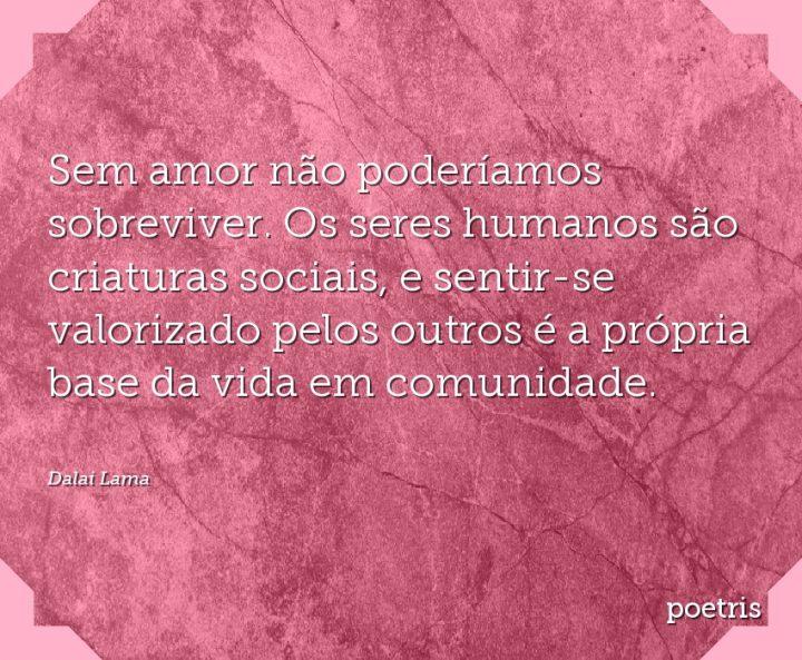 Sem amor não poderíamos sobreviver