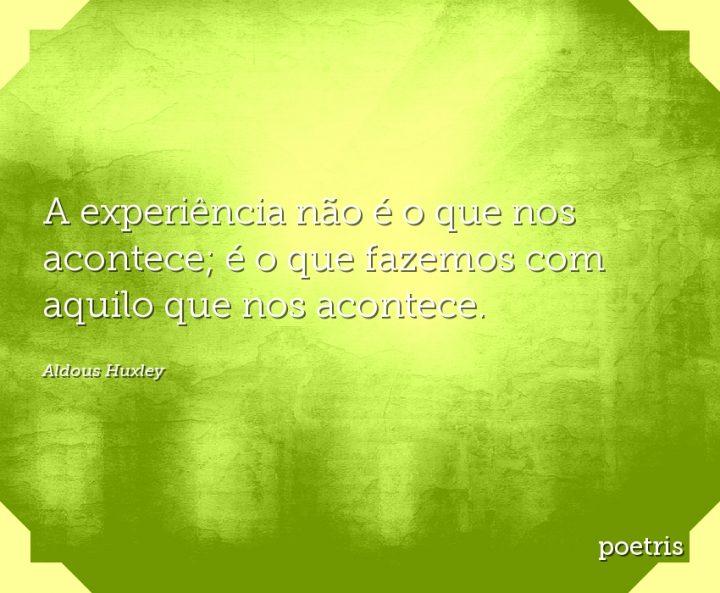 A experiência não é o que nos acontece; é o que fazemos com aquilo que nos acontece