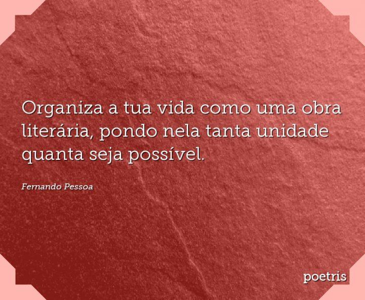 Organiza a tua vida como uma obra literária, pondo nela tanta unidade quanta seja possível