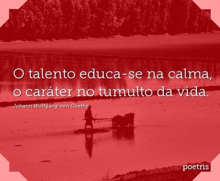 O talento educa-se na calma, o caráter no tumulto da vida