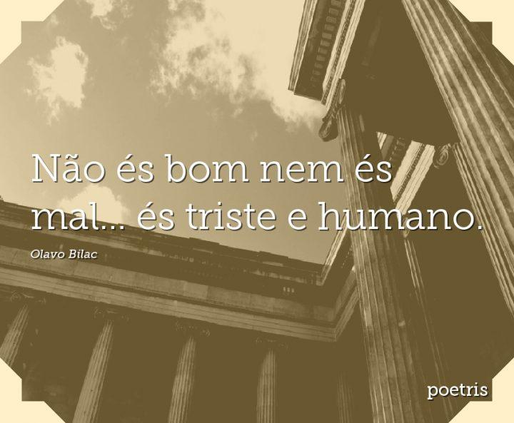 Não és bom nem és mal és triste e humano