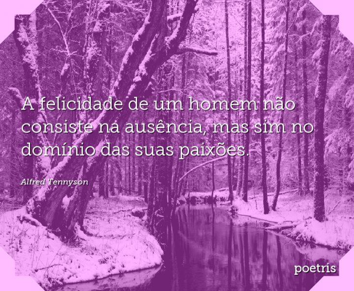 A felicidade de um homem não consiste na ausência, mas sim no domínio das suas paixões