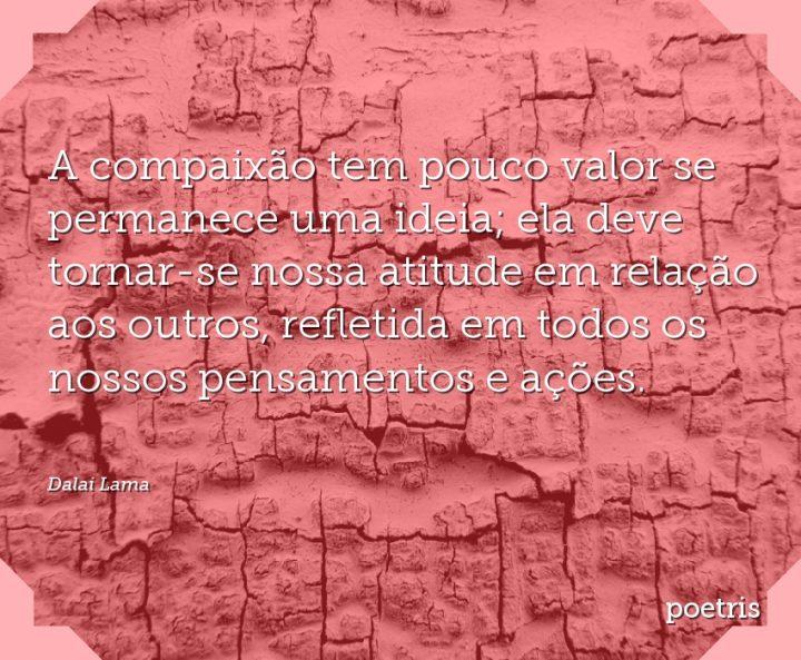 A compaixão tem pouco valor se permanece uma ideia; ela deve tornar-se nossa atitude em